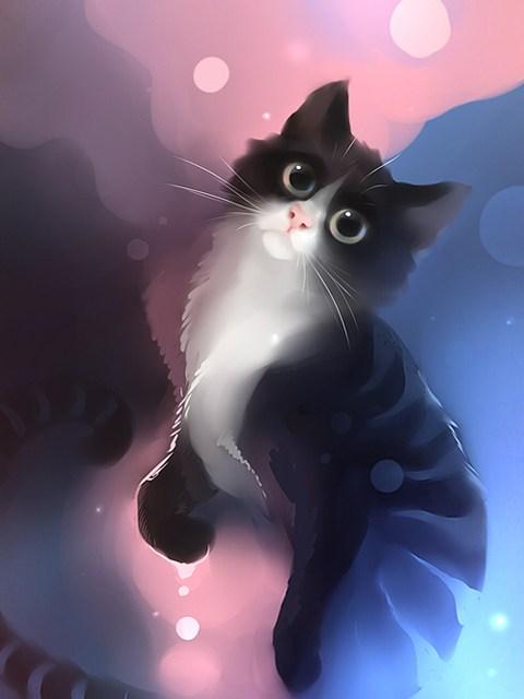 插画师apofiss笔下可爱猫咪壁纸